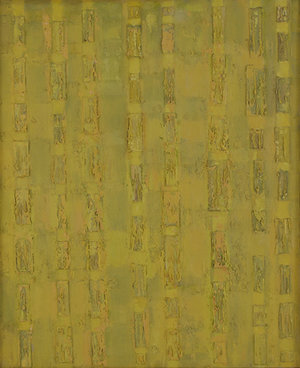 """Compassion-Theme-Box Lids, 1956, Oil on linen, 44"""" x 36""""  monochromatic panel painting in yellow with box lids"""