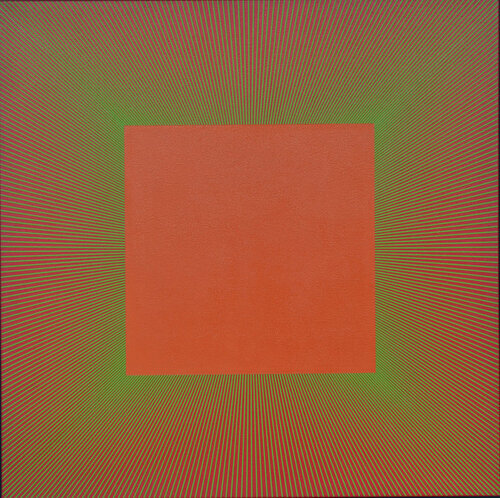 "Green Edged Light Red Oxide, 1980, Acrylic on Canvas, 48"" x 48""  Op art painting with orange square in the middle with green and orange lines intersecting on the square."