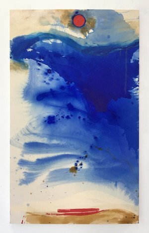 """Blue crystals revisited no.12 ,2019,Acrylic Ink, Acrylic Paint, Mica Powder, Shellac on Canvas, 60""""x 36"""".  Vertical abstract painting with splashed cloud-like forms of blue and tan dominate a white canvas with red circle and rectangular shapes."""