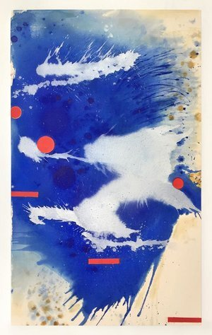 """Blue crystals revisited no.14 ,2019,Acrylic Ink, Acrylic Paint, Mica Powder, Shellac on Canvas, 60""""x 36"""".  Vertical abstract painting with splashed cloud-like forms of blue and white dominate a white canvas with yellow splashes, three red dots and red rectangles throughout."""