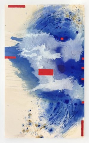 """Blue Crystals Revisited no.15 ,   2019, Acrylic Ink, Acrylic Paint, Mica Powder, Shellac on Canvas, 60""""x 36"""".  Vertical abstract painting with splashed cloud-like forms of blue and white dominate a white canvas with nine red rectangles throughout."""