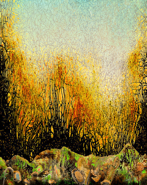 """Fall at Moss Creek   ,   2019, Chemigram, 29.5"""" x 25.5""""(Framed) 20"""" x 16"""" (Wo/Frame).  Abstract landscape photographic print of brown rocks with green moss in the foreground, yellow trees with thin branches on the horizon with light green sky."""