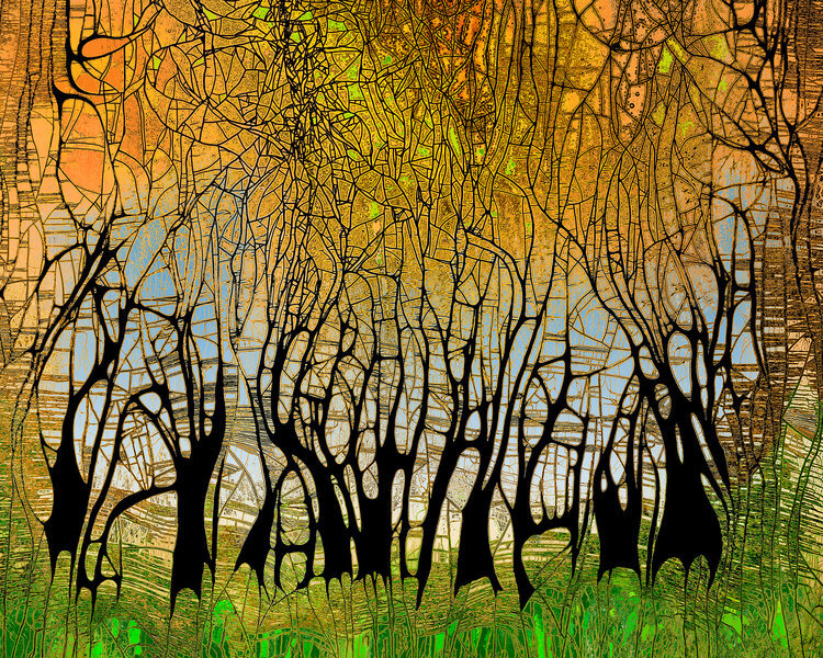 """Charwood (SOLD)   ,   2019, Chemigram, 29.5"""" x 25.5""""(Framed) 20"""" x 16"""" (Wo/Frame).  Abstract landscape photographic print of green grass, brown tree trunk and yellow branches throughout in thinly fragmented shapes."""