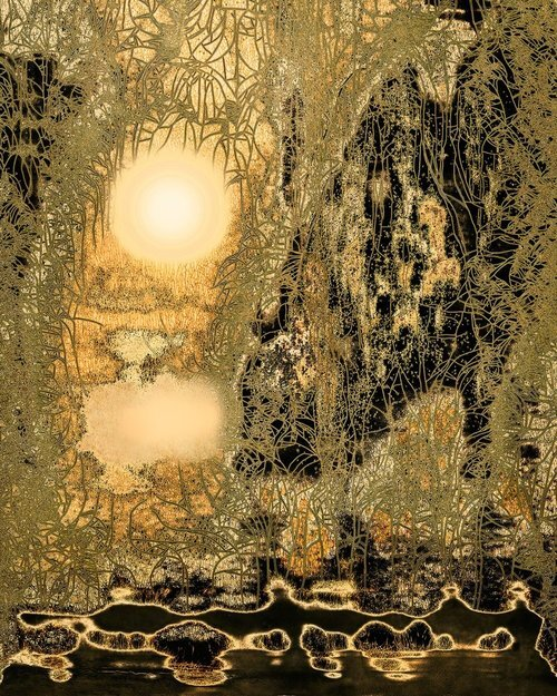 """Garden  (Edition 3 of 10), 2017, 29.5"""" x25.5""""(Framed)20"""" x 16"""" (Wo/Frame) Chemigram.  Abstract landscape photographic print of river, trees and sun in thinly fragmented shapes in black and gold color."""