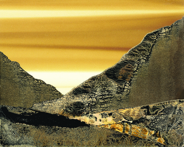 """Arroyo  (Edition 5 of 10)  (SOLD),  2017, 29.5"""" x 25.5""""(Framed)20"""" x 16"""" (Wo/Frame) Chemigram.  Abstract landscape photographic print of gray and brown lands. White and yellow sky in the background."""