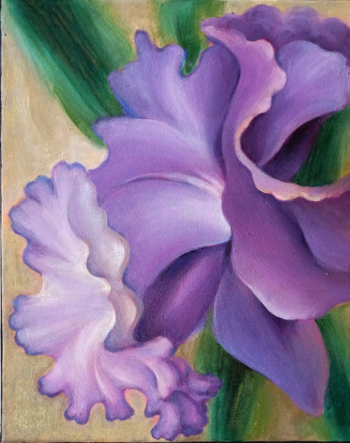 """Purple Daffodil , 2018, Oil on Canvas, 14""""x 11"""".  Purple daffodil with green stem and tan background."""