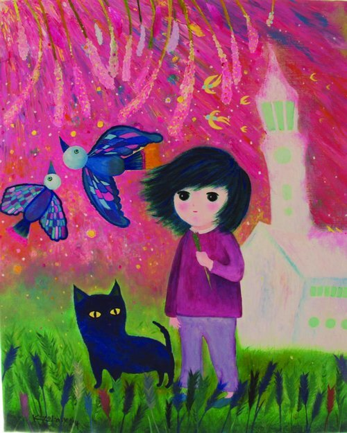 """The wild that shakes the green , 2014, Oil on Canvas, 25.7""""x 21"""".  Abstract painting with a child-like figure and cat, birds. Grass on the foreground, a white house and pink sky in the background."""