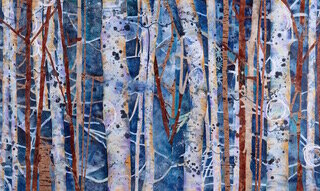 """Blue Faeries , 2017, Mixed Collage on Canvas, 36"""" x 60"""".  Treescape with white and brown tree trunks in blue background."""