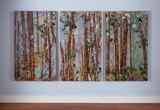 """Trunk Show I, II, III , 2017, Mixed Collage on Canvas, 36"""" x 48"""".  3 vertical panels of treescape with brown tree trunks, green leaves with blueish gray background."""