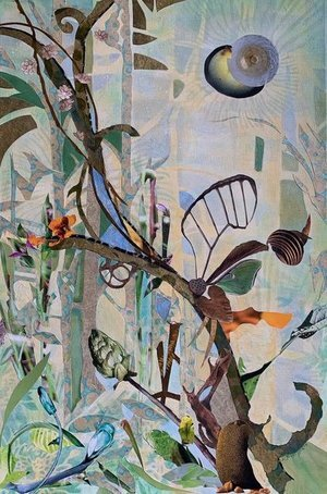 """TREE SPIRITS VIII , 2019, on Paper, 30"""" x 23.5"""".  Vertical collage of treescape with tree trunks, flowers and leaves. Brown trees and green leaves, orange and blue flowers on green background."""
