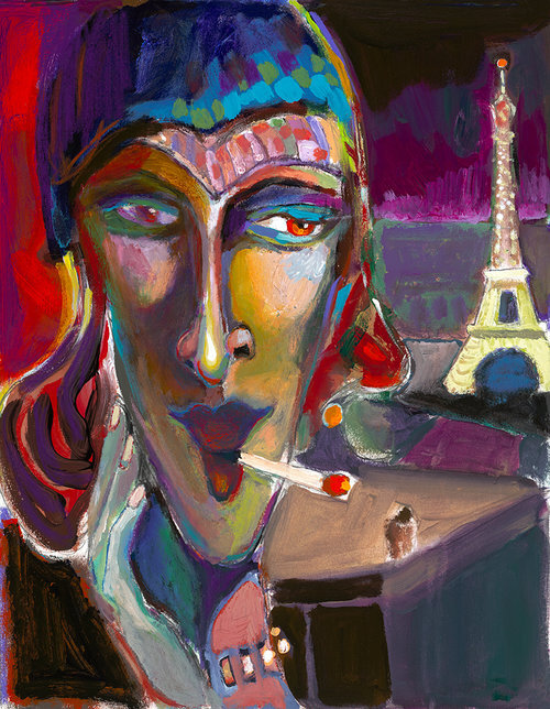"""Bonsoir Paris , 2019, 24"""" x 18.5"""", Acrylic on Canvas.  Abstract portraiture of a Parisian woman smoking a cigarette. Blue, red, yellow on the face and the Eiffel tower on purple background."""