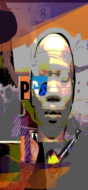 """Conflict of Interest , 2019, 150"""" x 23.75"""" x 3/4""""Digital on Aluminum (Limited edition 3/25).  Abstract portraiture of a man in oval face in the center,purple, orange, gray background."""