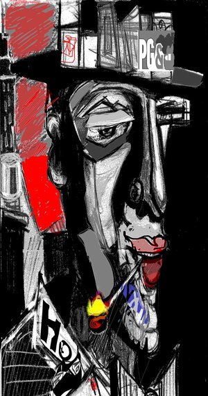 """Pacific Gas and Destruction ,2019,48"""" x 25.5"""" x 3/4"""" Digital on Aluminum (Limited edition 4/25).  Abstract portraiture of a man with a top hat, smoking a cigarette. Black and white dominating with red, yellow, blue."""