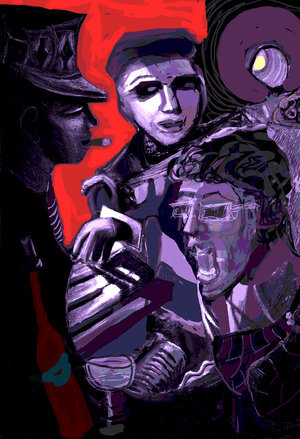 """Jazzland ,2019, 36"""" x 24"""" x 3/4""""Digital on Aluminum (Limited edition 2/25).  Abstract portraitures of 3 people in a circle. Purple and black dominating with red background."""