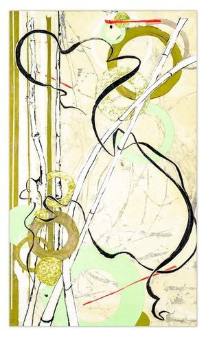 """Into the Grasslands, 2019 , 60"""" x 36"""",Ink, art papers, foil and photography on canvas.  Abstract drawing and photography of blowing grasses with green, bronze and golden circles."""