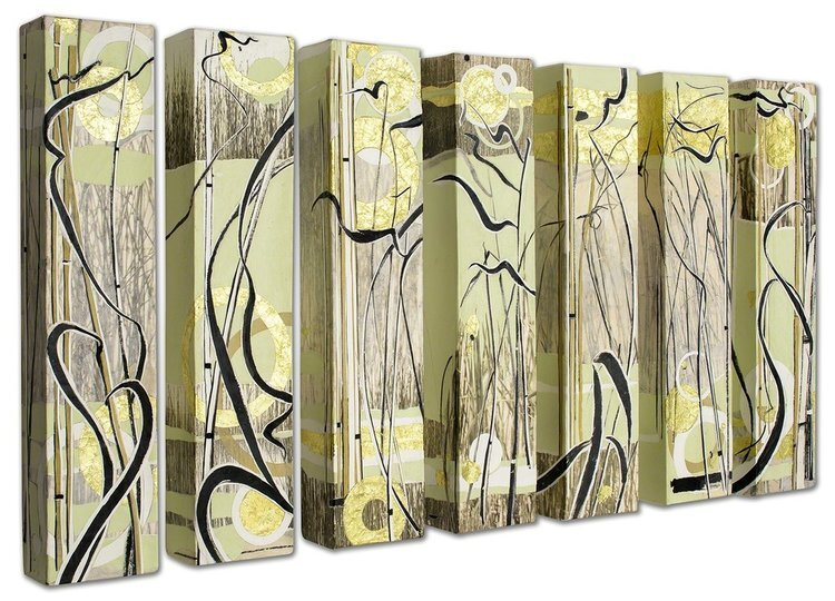 """Paper River Landing  (7 panels), 2017, 24"""" x 5"""" x 3""""  (SOLD), Ink, art papers, photography and foil on canvas.  Abstract drawing and photography of reeds with green, gold and white stripes and circles."""