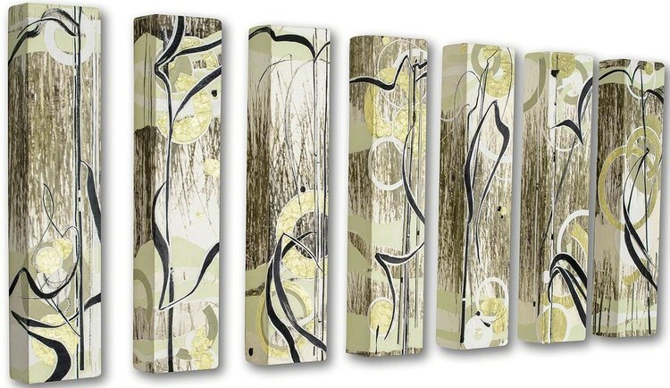 """Jacob's Marsh  (7 panels), 2013, 24"""" x 5"""" x 3"""",Ink, art papers and foil on canvas.  7 panels of abstract photography and drawing based on marsh grasses."""