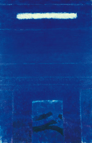 """Dream II ,2001, Acrylic on Canvas, 77""""x49"""".  Vertical colorfield abstraction with blue dominating with white rectangle on upper middle and dark blue river running through middle."""