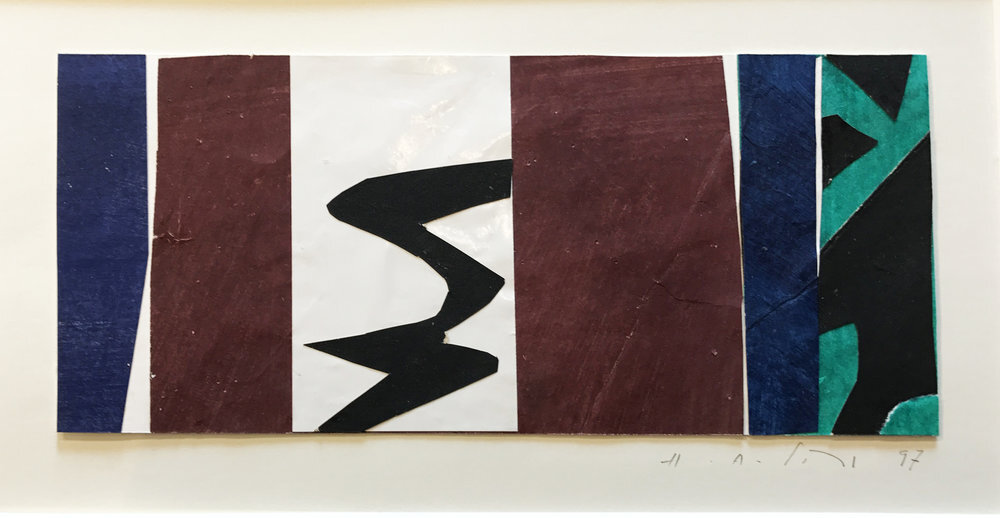 """Untitled #2 , 1997,4"""" x 10"""", Acrylic on Paper.  Horizontal colorfield abstraction on paper with dark blue, burgundy, black and green color, black river running through middle."""