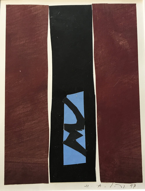 """Untitled #5 , 1997, 10"""" x 9"""", Acrylic on Paper.  Vertical colorfield abstraction on paper with Burgundy and black panels, blue and black river running through middle."""
