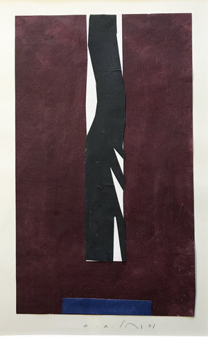 """Untitled #6 , 2001, 10"""" x 6"""", Acrylic on Paper.  Vertical colorfield abstraction on paper with Burgundy dominating and white rectangle in the middle, black river running through and blue rectangle on the lower part."""
