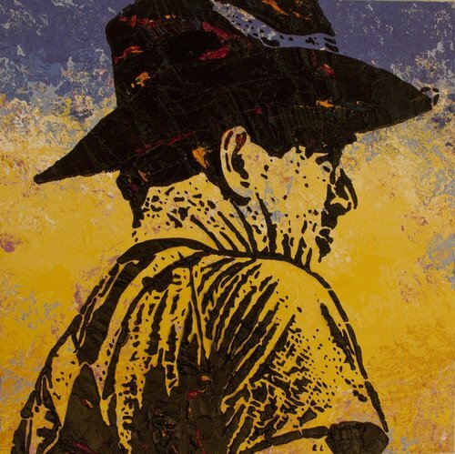 """Times of Our Lives , 12"""" x 12"""", Imprints relief paintings on wood panel.  woodblock print-like painting with a closeup view of a man in a hat, looking to the right side. Thick black outlines on the figure, yellow and purple background."""