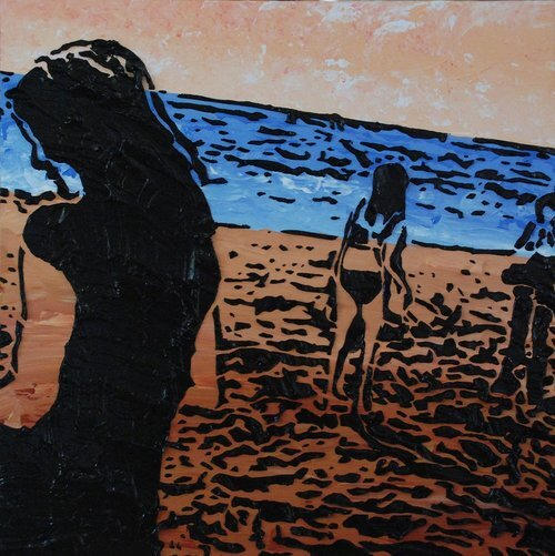 """Times of Our Lives , 12"""" x 12"""", Imprints relief paintings on wood panel.  woodblock print-like painting of a beach. Thick black outlines on three figures, brown sand in the foreground, blue ocean horizon and tan sky."""