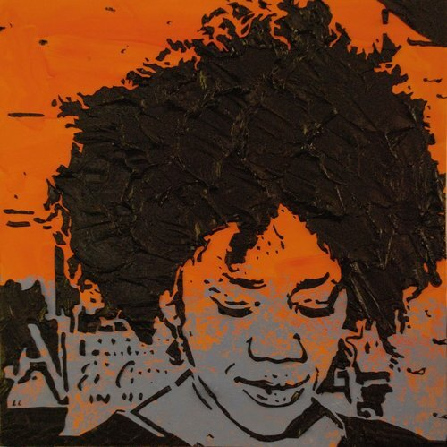 """Times of Our Lives , 12"""" x 12"""", Imprints relief paintings on wood panel.  woodblock print-like painting of closeup view of a woman. Thick black outlines on the figure and background. Blue color on the foreground and orange background."""