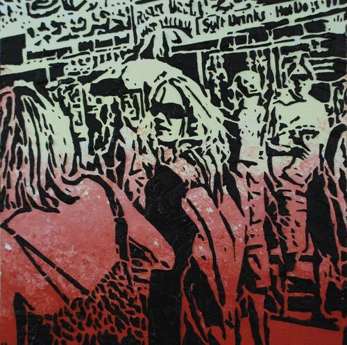 """Times of Our Lives , 12"""" x 12"""", Imprints relief paintings on wood panel.  woodblock print-like painting of crowds on a street. Thick black outlines on the figures and background. Red color on the foreground, green background."""