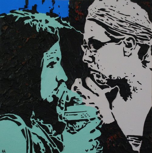 """Times of Our Lives , 12"""" x 12"""", Imprints relief paintings on wood panel.  woodblock print-like painting of two people looking at each other. Thick black outlines on the figures. green, gray, blue background."""