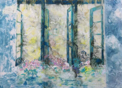 """Open Doorways , 15"""" x 20"""", Mixed Media on Matte Duralar.  Blue French doorways with pink flowers and yellowish green background"""