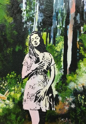 """Prima Vera  (SOLD),  Mixed Media, 30"""" x 22"""". Woodblock print-like forest landscape with a woman. greens, gray blues and rust reds for trees and path."""