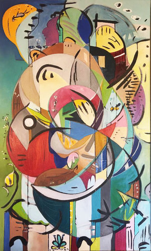 """Inside the Cocoon 1 , 2018, 60"""" x 36"""", Sumi Ink, Oil and Graphite on Canvas.  Vertical abstract painting with a wide range of vivid tones, blue, green, pink, orange, beige. Intersecting freeform shapes, black, floating curved lines."""