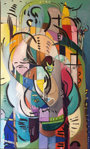 """Inside the Cocoon 2 , 2018, 60"""" x 36"""", Sumi Ink, Oil and Graphite on Canvas.  Vertical abstract painting with a wide range of vivid tones, blue, green, pink, orange, beige. Intersecting freeform shapes, black, floating curved lines."""
