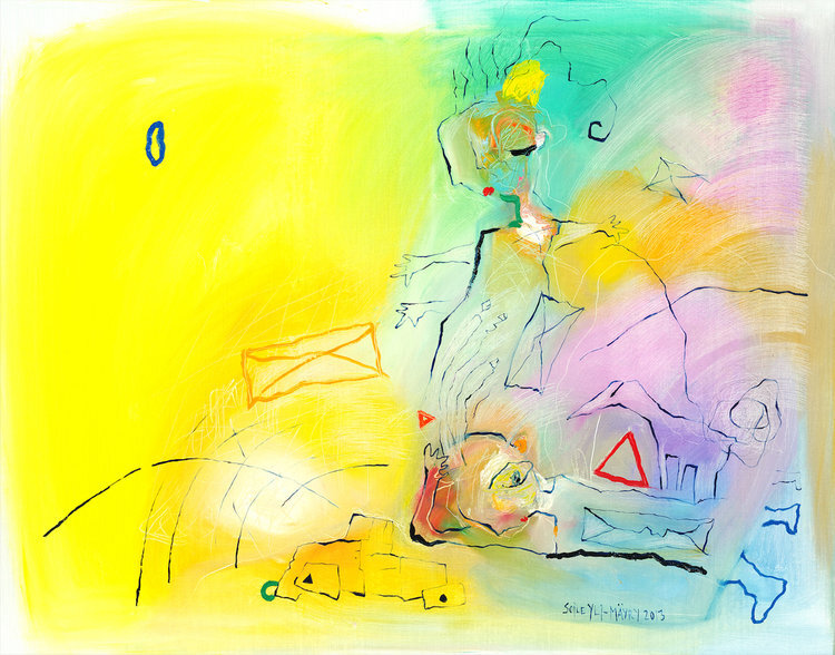 """Asphalt Dream , 2013, 43"""" x 55"""", Oil on Canvas.  Two female abstract nordic portraitures with palette-like faces, hair, bodies. Expressionist facial tones, eyes, mouth with animated animals and cars on yellow, green, pink background."""