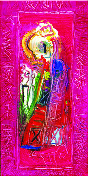 """Burning Fire(SOLD) ,2017 ,  16"""" x 8"""", Oil on Canvas.  Female abstract nordic portraiture with palette-like face, expressionist facial tones, eyes, mouth with bright pink background"""