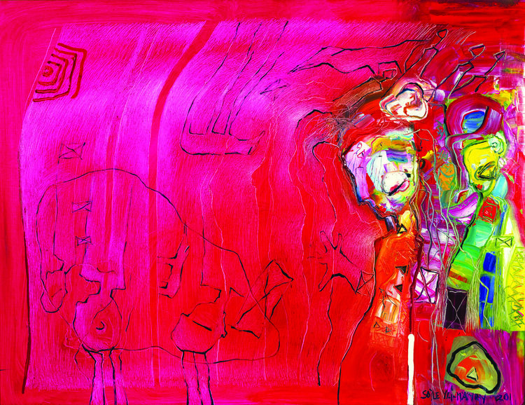 """Life in Glass Cabinet ,Oil on Canvas, 39"""" x 51"""".  Female abstract nordic portraitures with palette-like face, hair and body. Expressionist facial tones, eyes and mouth on bright pink and red background."""