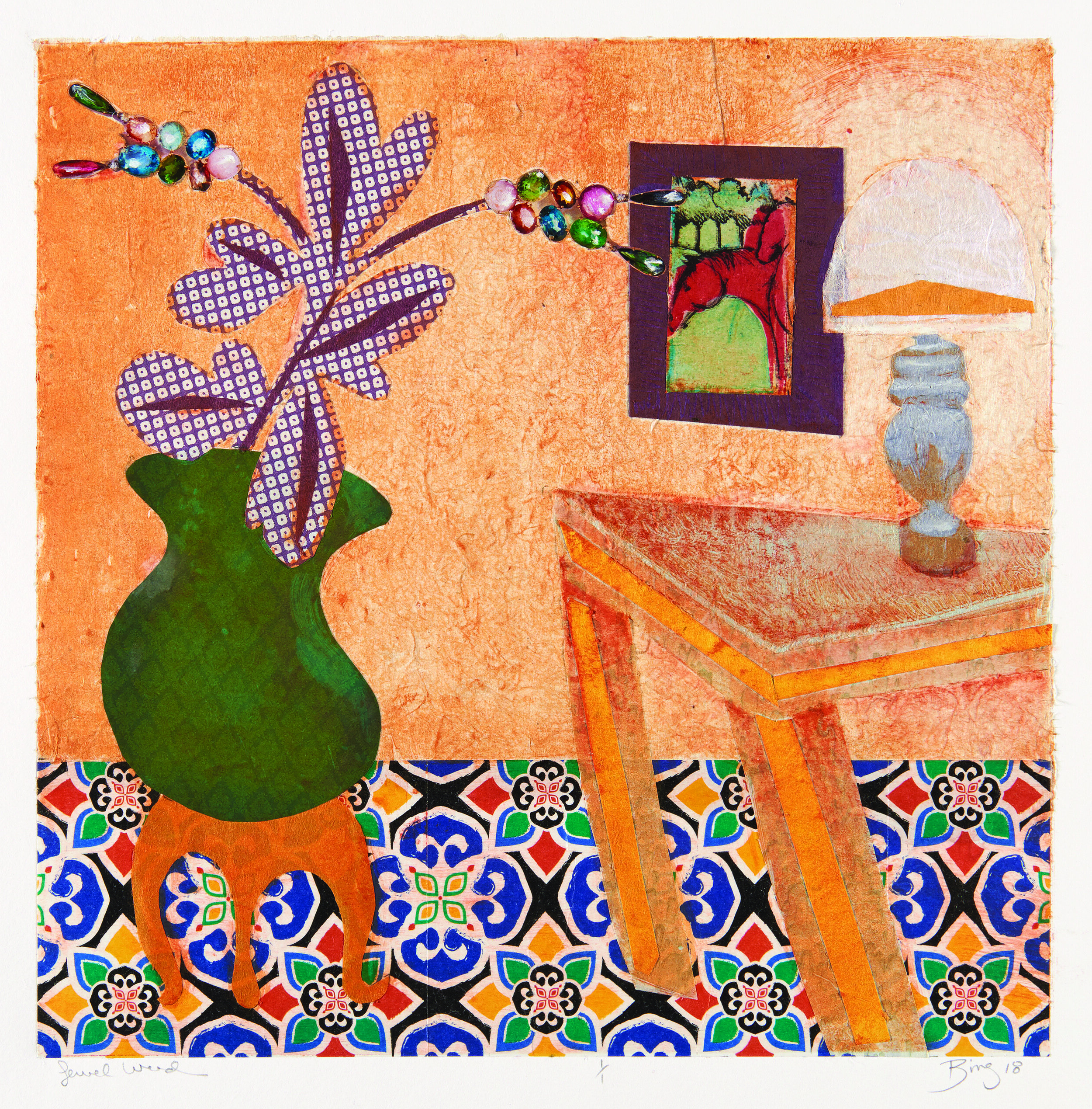 Monotype print of a yellow room with textured floors, flower and vase, tables, lamps