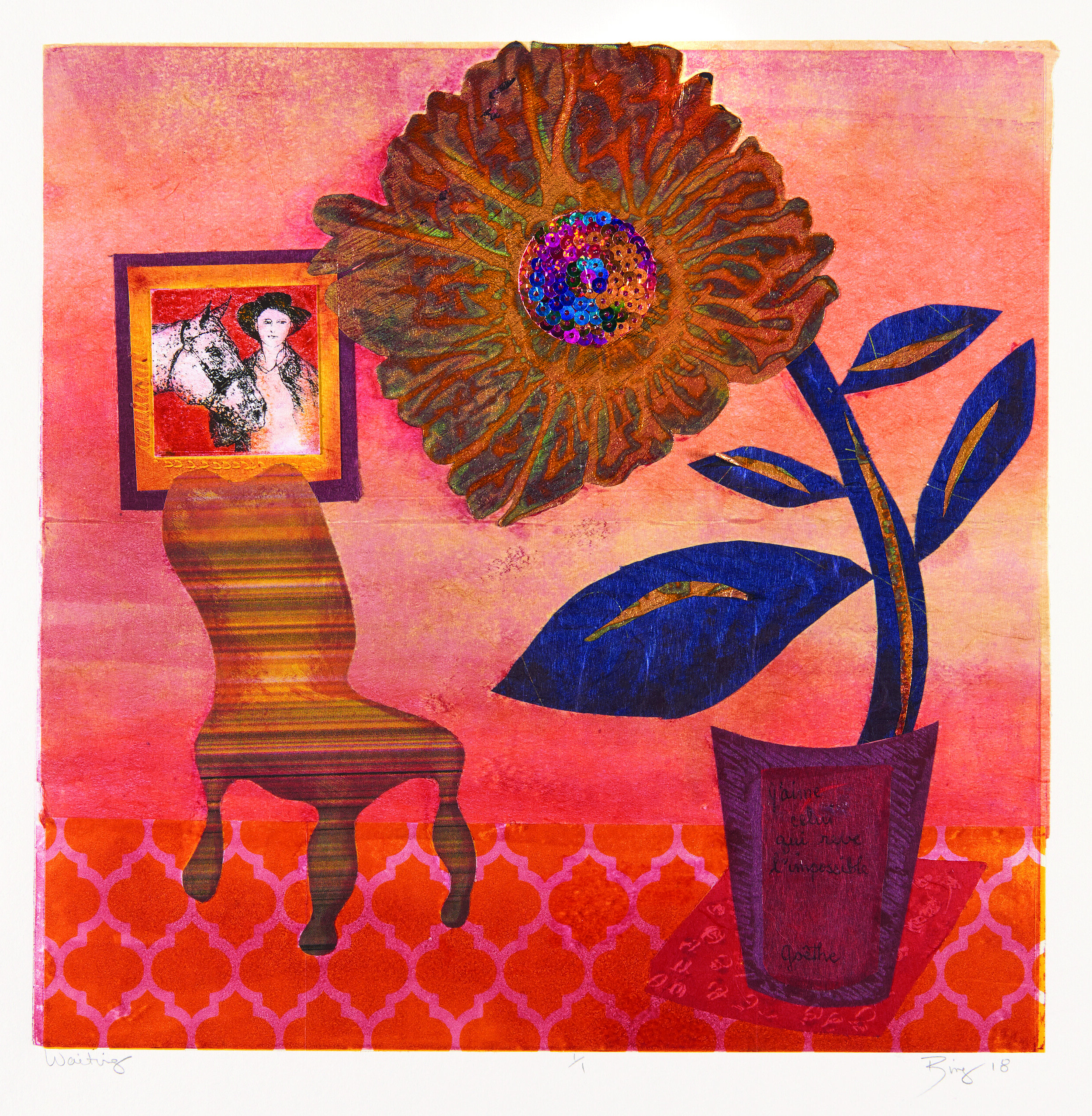 Monotype print of a orange room with textured floor, chair and flower.
