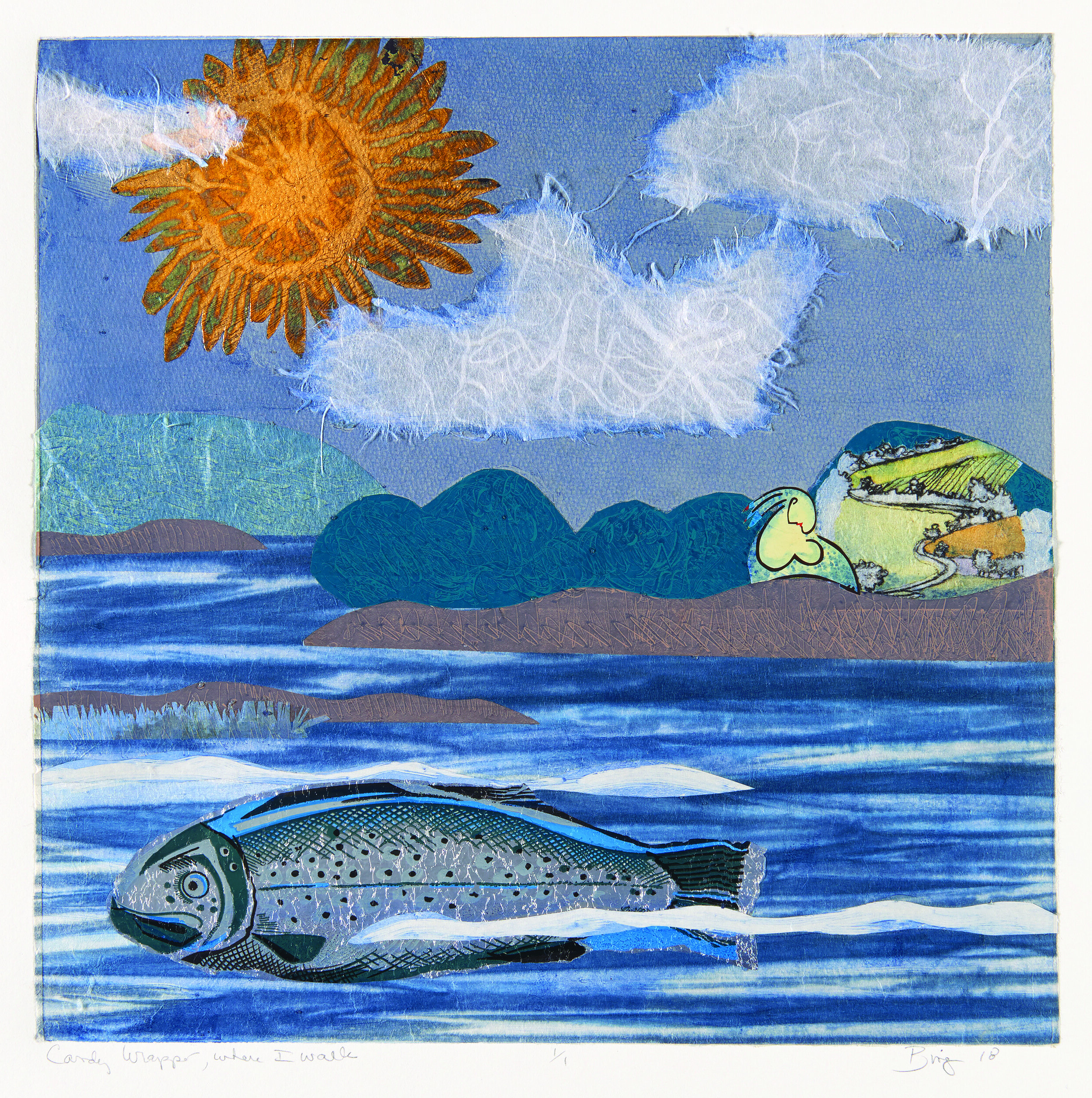 Monotype print of a landscape with fish, sun, clouds on blue ocean and sky