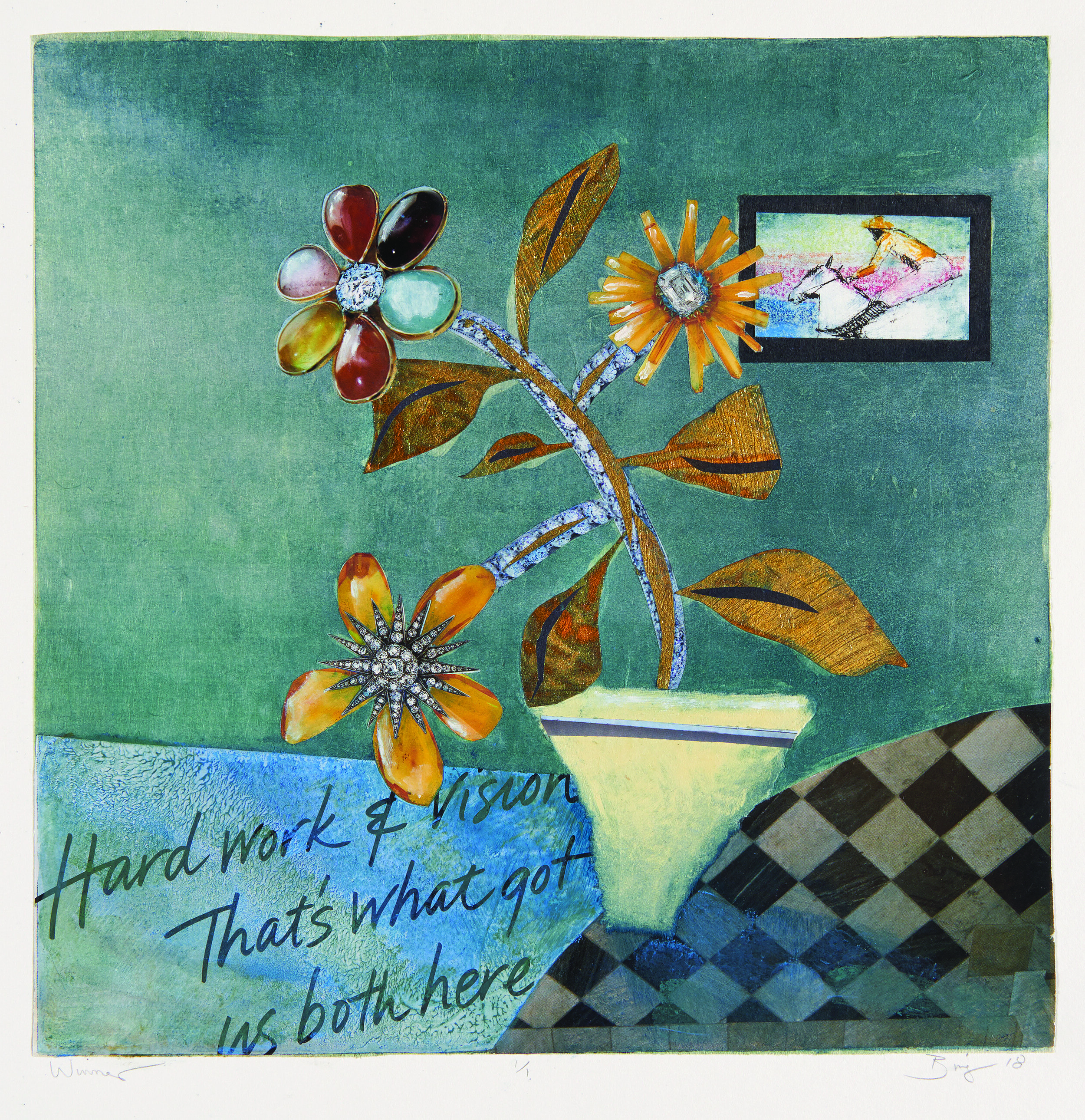 Monotype print of a blue room with textured table, flower, texts on the floor and a painting hanging on the wall
