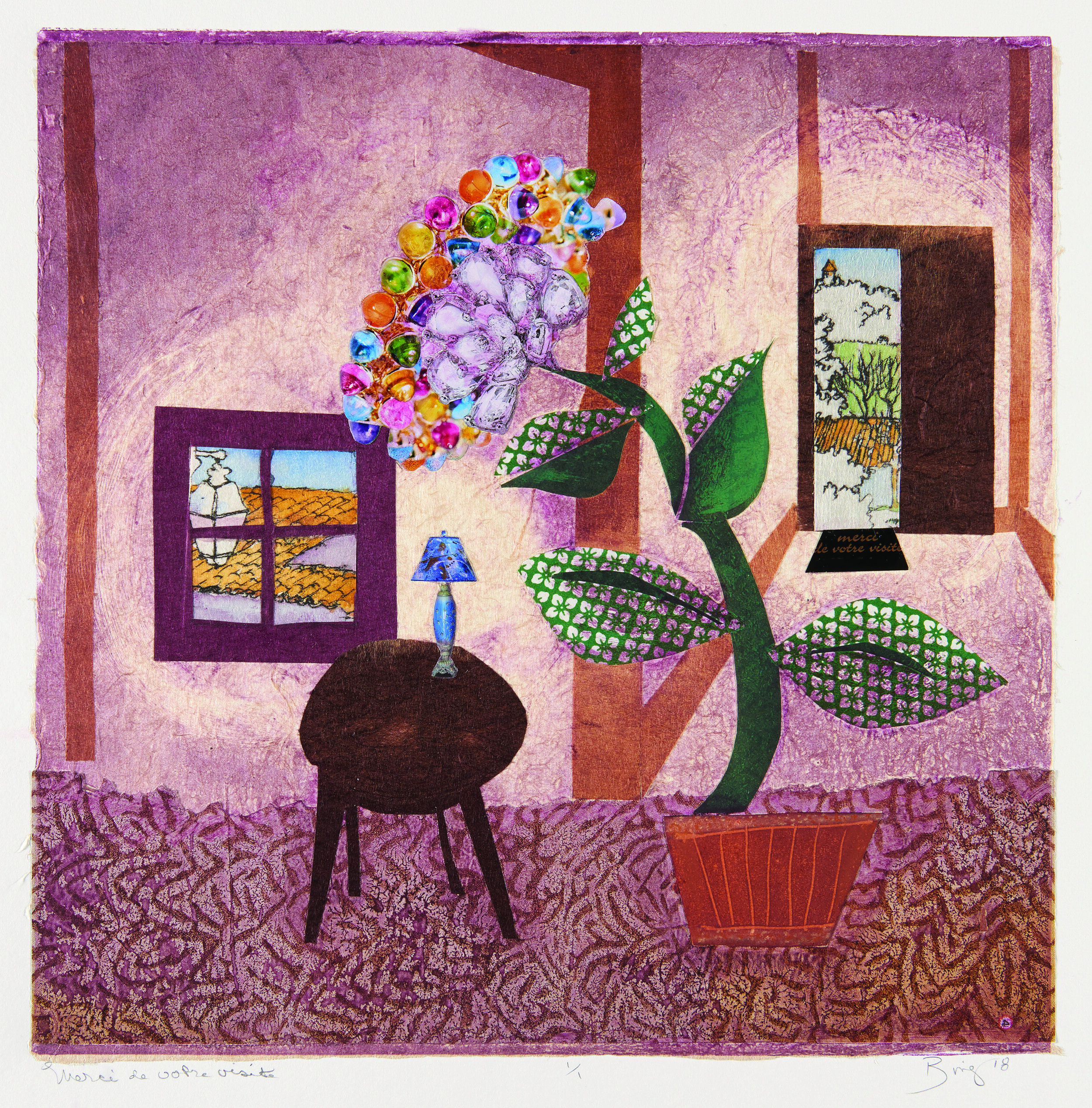 Monotype print of a red room with textured floor, table, flower, windows