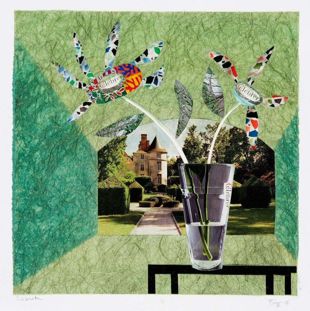 Monotype collage-like print of a green room with table, vase, flower and window to garden outside