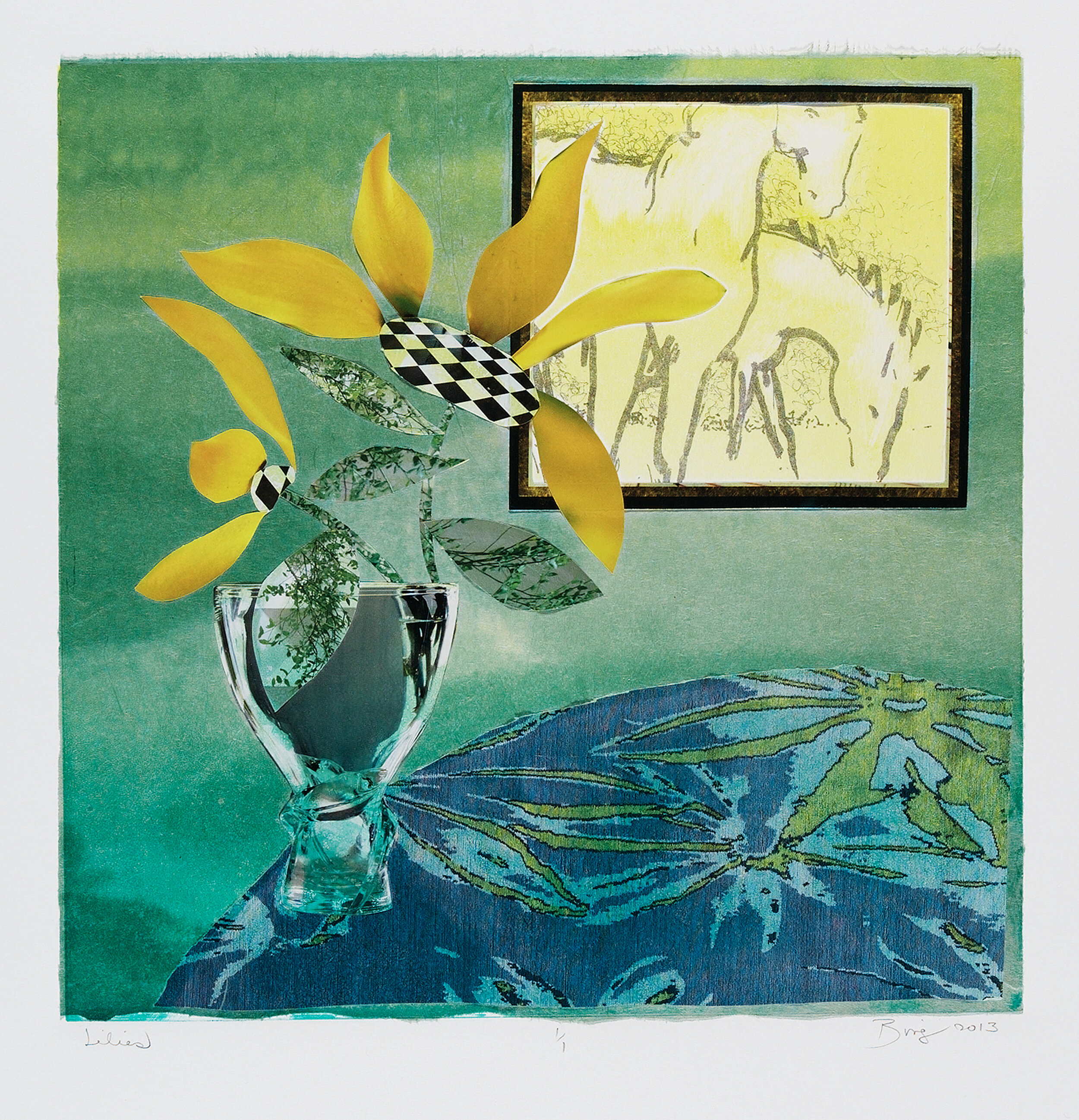 Monotype of green vase yellow flowers in green room viewing painting of two white horses