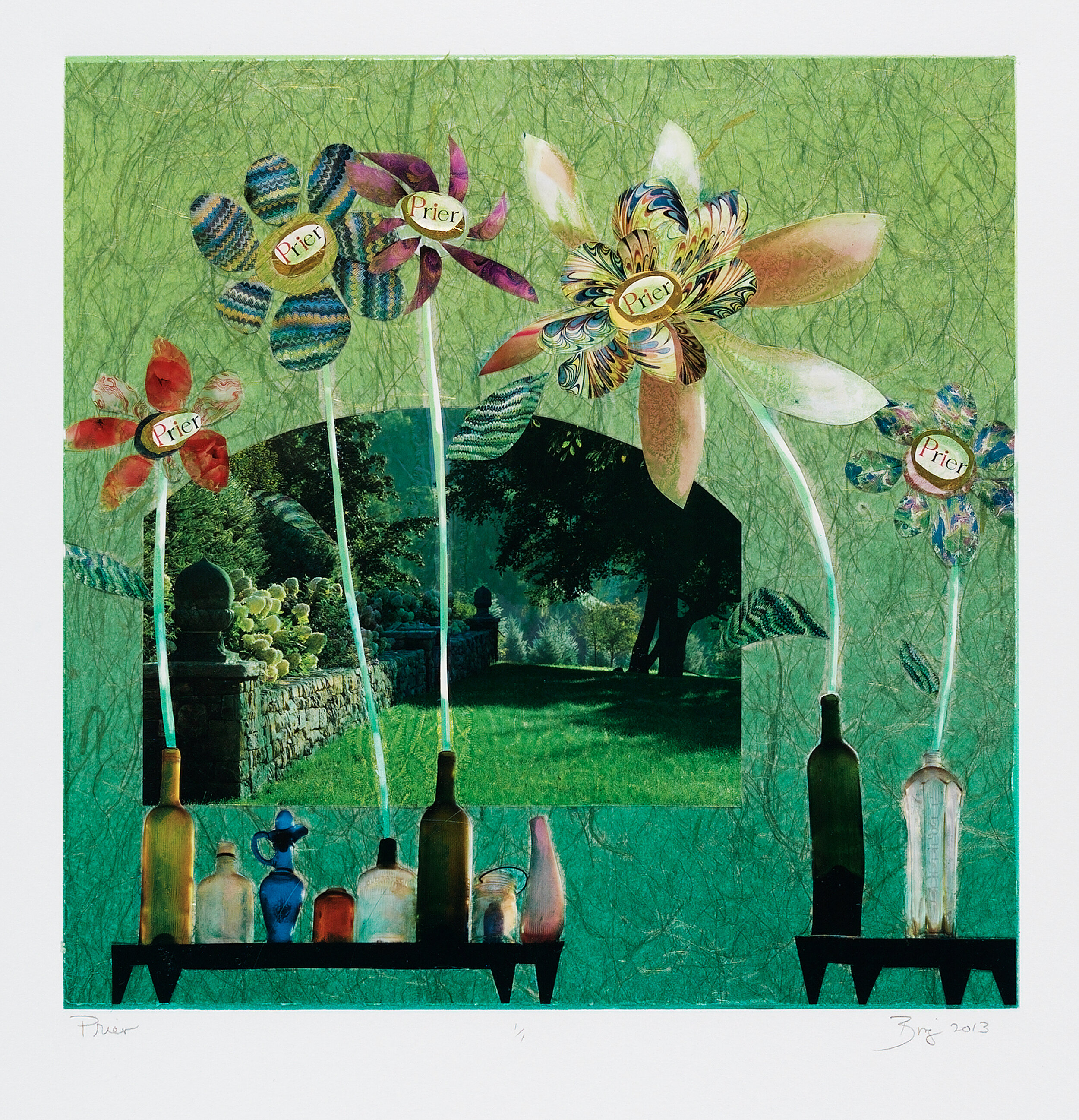 Monotype collage-like print of a green room with tables, flowers and a window