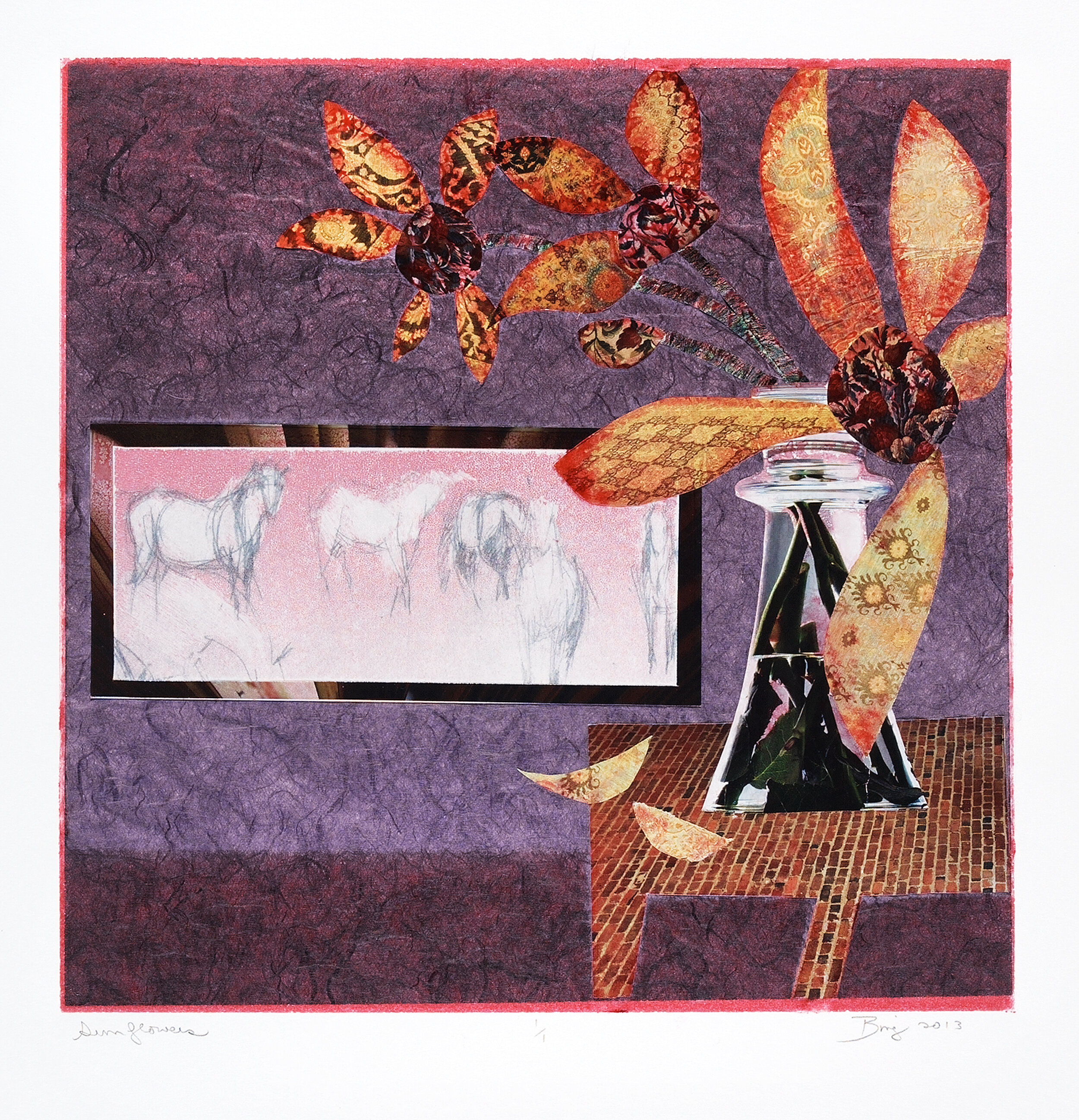 Monotype collage-like print of a purple room with table, flowers and painting on the wall