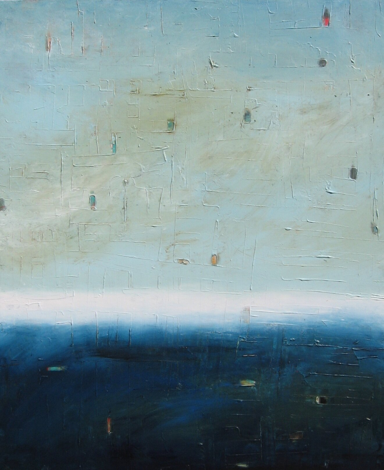 Colorfield vertical abstract seascape deep dark blue foreground and blue, green, white horizon