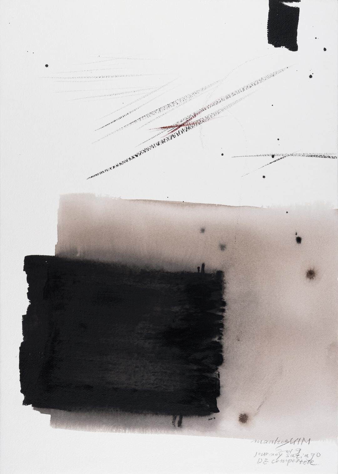 """Journey Santiago DE Compostele, 2019, Acrylic on Paper, 30""""x22"""".  vertical minimalist painting with black and tan, white squares in the middle"""