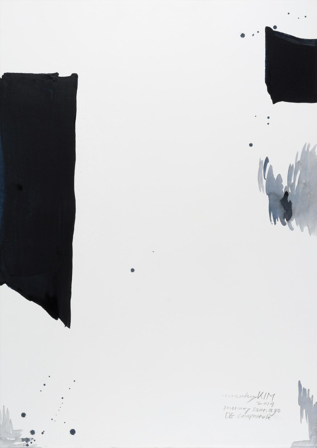 """Journey Santiago DE Compostele 2, 2019, Acrylic on Paper, 30""""x22""""  abstract vertical minimalistic painting mostly white, one black bar on each side"""