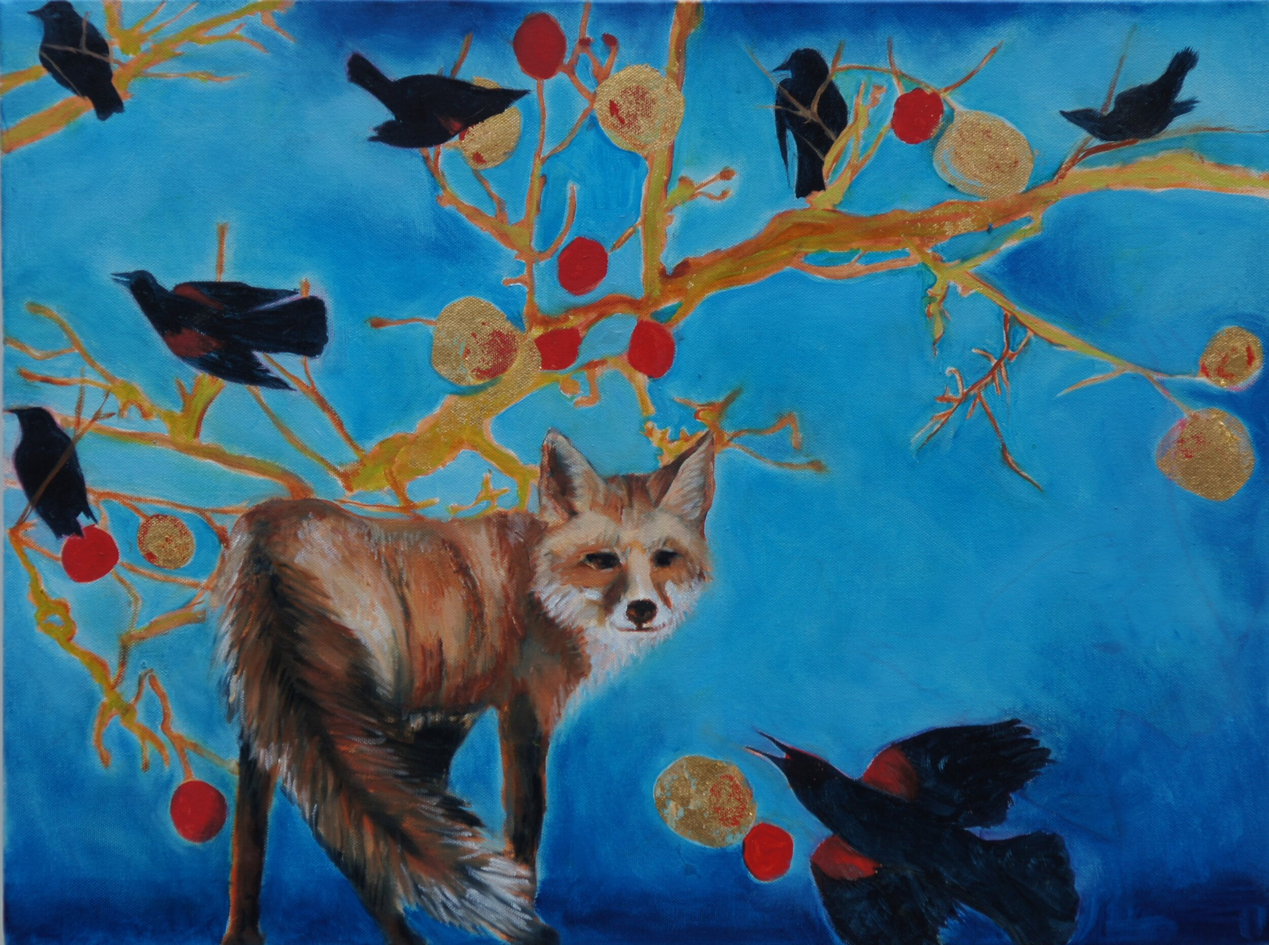 """The Eternal Gaze of the Messenger VI, 2019, Oil and Gold on Canvas, 24""""x18""""  Abstract landscape in Oregon featuring tree branches, fruits, fox, birds. Blue dominating the background."""